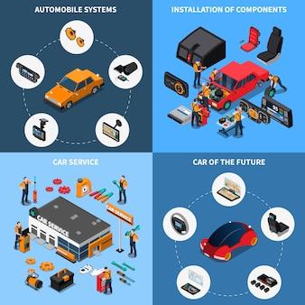 Conjunto de composição de eletrônica de carro