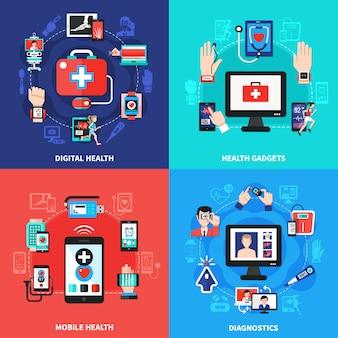 Conjunto de composição de gadgets de saúde digital