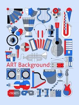 Conjunto de composição de instrumentos musicais de linha plana de arte
