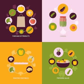 Conjunto de composição de legumes plana