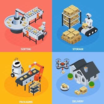 Conjunto de composição de logística automática