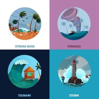 Conjunto de composição de paisagens à beira-mar