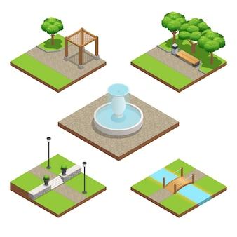 Conjunto de composição de paisagismo isométrica com plantas e elementos de decoração de madeira e pedra