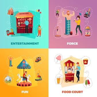 Conjunto de composição de parque de diversões