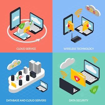 Conjunto de composição do office cloud