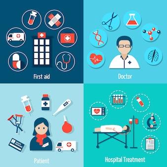 Conjunto de composição e avatar de elementos planos médicos