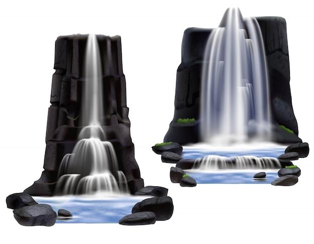 Conjunto de composição realista de cachoeiras