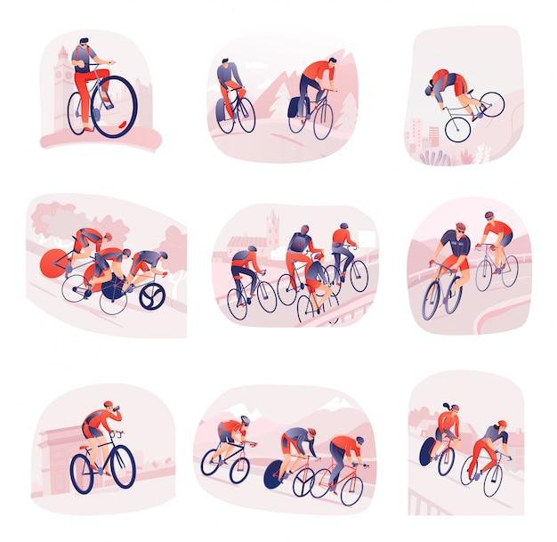 Conjunto de composições com ciclistas durante passeio de bicicleta na cidade ou natureza isolada