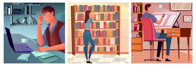 Conjunto de composições com escritor e ilustrador em seus locais de trabalho e mulher escolhendo livros na loja