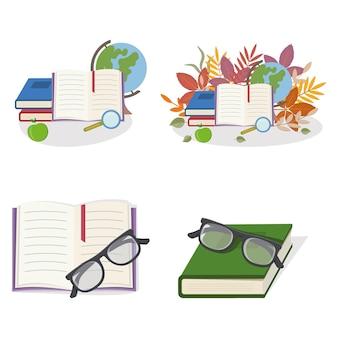 Conjunto de composições com material escolar, ilustração vetorial de cores