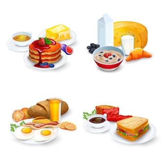 Conjunto de composições de café da manhã