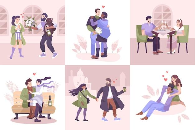 Conjunto de composições de casais românticos