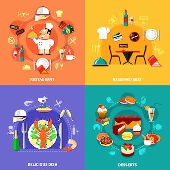Conjunto de composições de comida