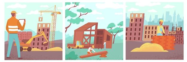 Conjunto de composições de construção de casas quadradas com imagens planas, paisagens ao ar livre e ilustrações de prédios de apartamentos em construção