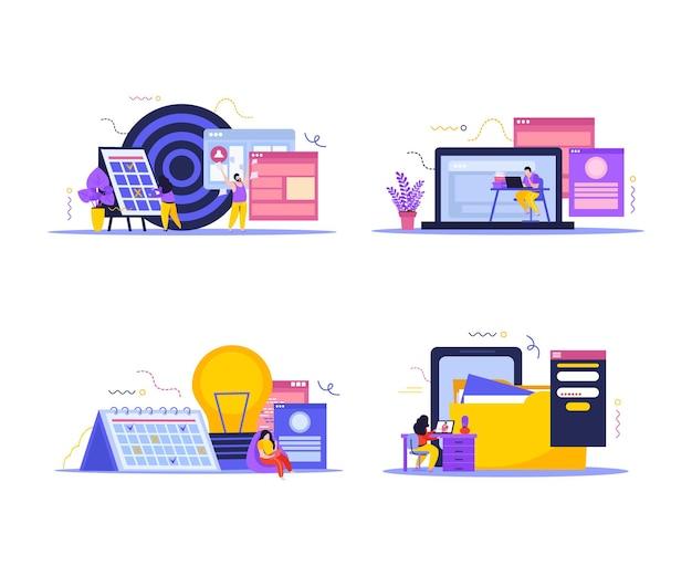 Conjunto de composições de espaço de trabalho de negócios