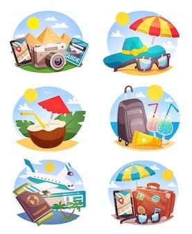 Conjunto de composições de férias de verão