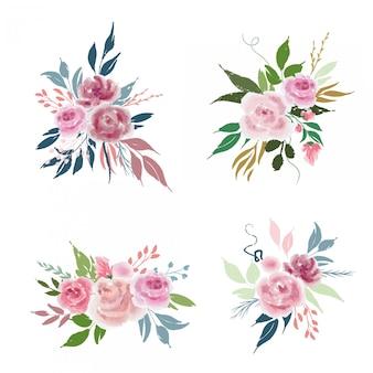 Conjunto de composições de flores de vetor com rosas e folhas