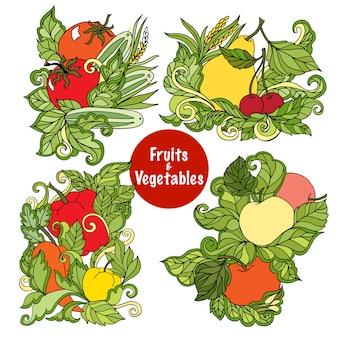 Conjunto de composições de frutas e legumes ornamentais