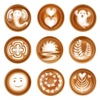 Conjunto de composições de imagens realistas de latte art de corações e folhas fantasma e elefante isolado