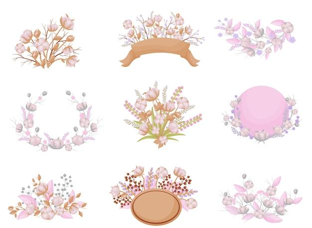 Conjunto de composições de inflorescências