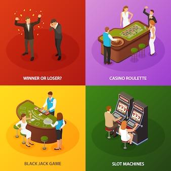 Conjunto de composições de jogo de casino slot machine roleta black jack