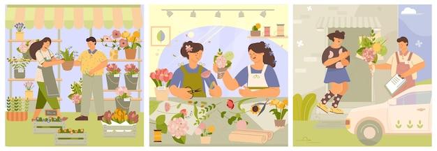 Conjunto de composições de negócios de florística