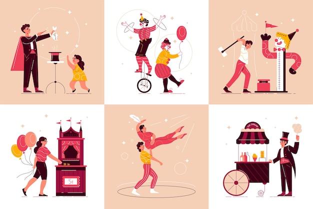 Conjunto de composições de parque de diversões de circo