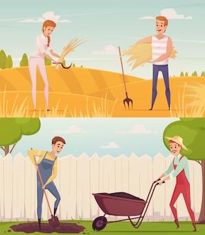 Conjunto de composições de pessoas de desenhos animados de agricultor dois jardineiro