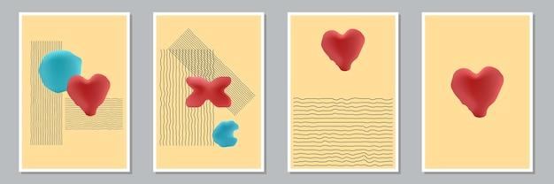 Conjunto de composições de pintados à mão artísticas mínimas criativas abstratas na moda para decoração de parede, cartão postal ou design de capa de brochura. ilustração vetorial.