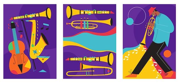 Conjunto de composições de pôsteres de festivais de jazz incluíam saxofone trombone clarinete violino contrabaixo piano trompete bumbo e guitarra banjo