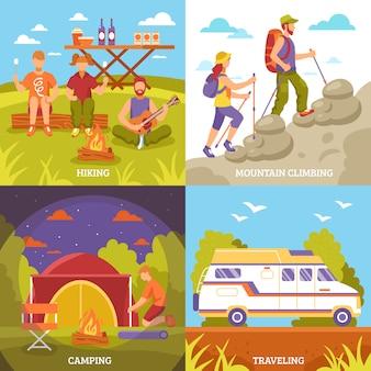 Conjunto de composições de recreação ao ar livre