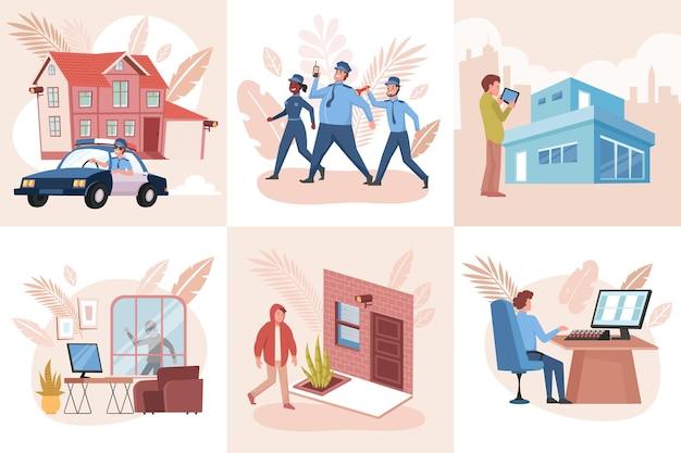 Conjunto de composições de segurança da casa com edifícios de personagens humanos e policiais