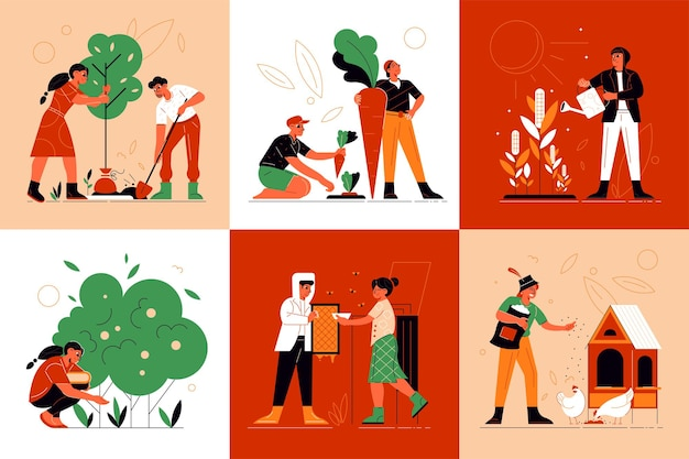 Conjunto de composições de trabalhadores agrícolas
