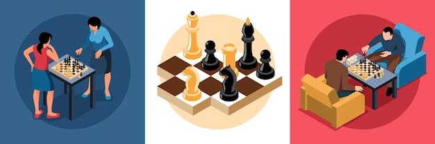 Conjunto de composições de xadrez isométrico