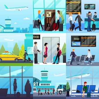 Conjunto de composições expresso do aeroporto
