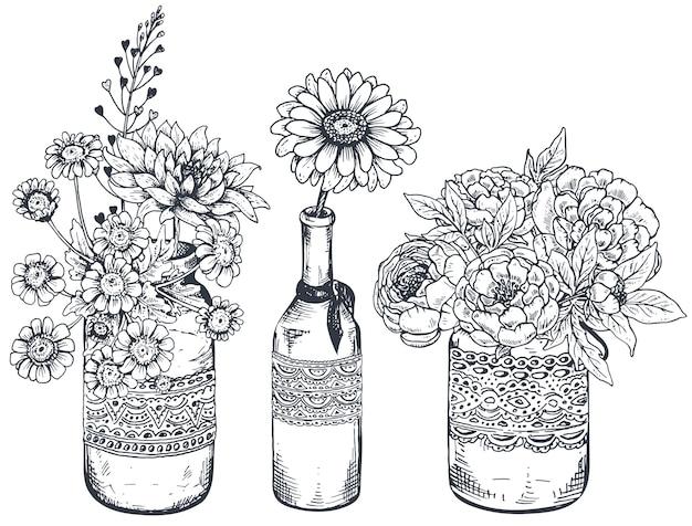 Conjunto de composições florais. buquês com flores desenhadas à mão e plantas em vasos e potes. ilustrações monocromáticas em estilo de desenho.