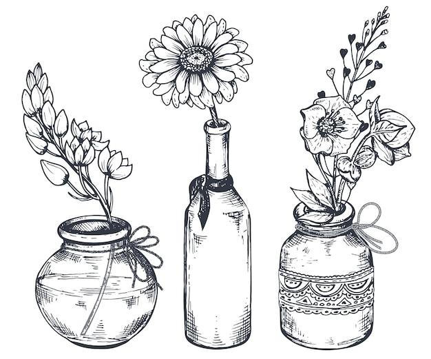 Conjunto de composições florais. buquês com flores desenhadas à mão e plantas em vasos e potes.