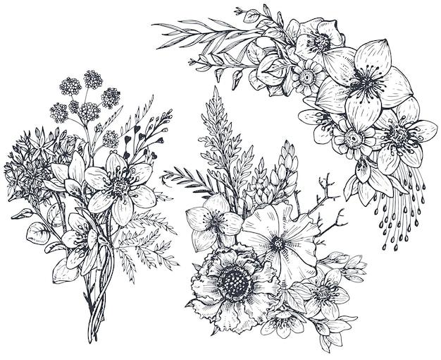 Conjunto de composições florais. buquês com flores e plantas desenhadas à mão.