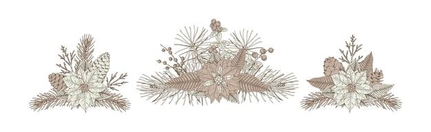 Conjunto de composições florais de natal