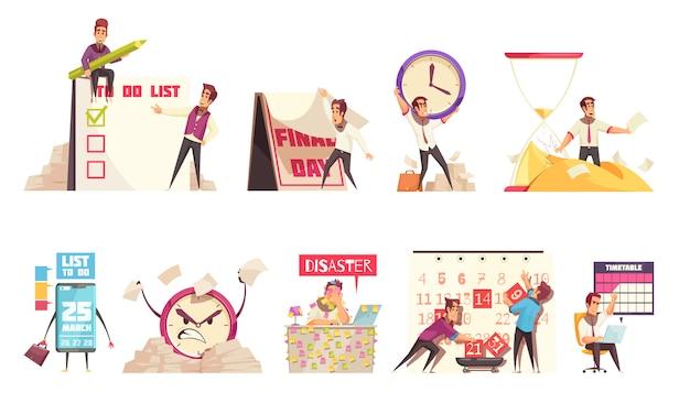 Conjunto de composições isoladas dos desenhos animados sobre o tema de gerenciamento de tempo, planejamento de calendário, cronograma e prazo