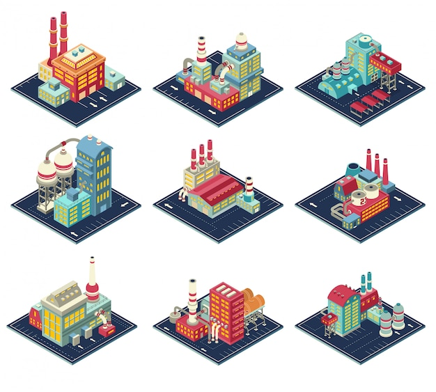 Conjunto de composições isométricas de fábricas