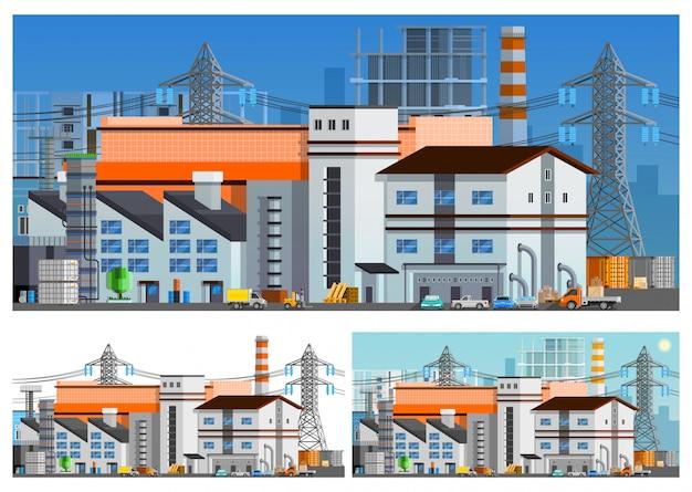 Conjunto de composições ortogonais de edifícios de fábrica