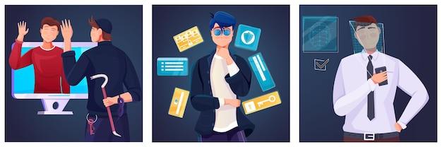 Conjunto de composições planas com ilustração de informações pessoais protegidas