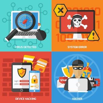 Conjunto de composições quadradas de hackers