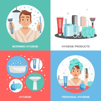 Conjunto de composições quadradas de higiene