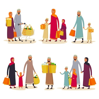 Conjunto de compradores isolados do leste no supermercado