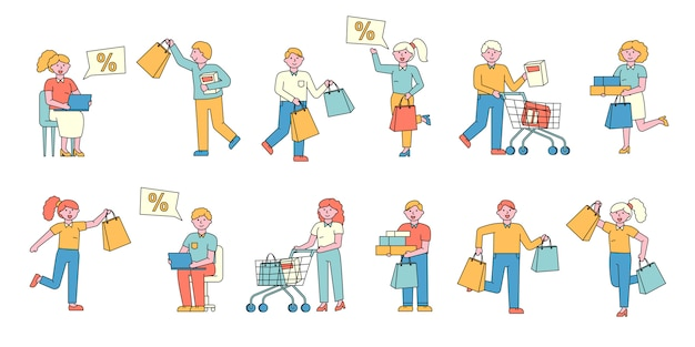 Conjunto de compradores plana de compradores. pessoas felizes, viciados em compras comprando mercadorias.