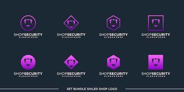 Conjunto de compras de design de logotipo de vetor pacote premium