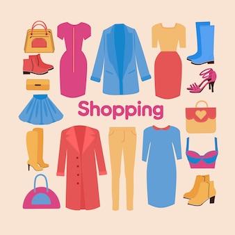 Conjunto de compras e beleza em design plano