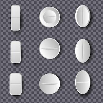 Conjunto de comprimidos brancos e comprimidos em fundo transparente
